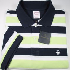 BROOKS BROTHERS Golden Fleece Striped Polo Shirt O/F NAVY/WHITE/LIME Large NWT #BrooksBrothers #PoloRugby