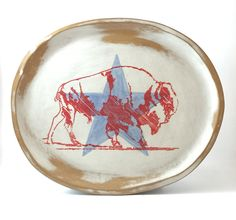 Almost the 4th  #buffalo #buffaloplatter #platter #ceramics #americana Red Dog, Platter, Buffalo, Ceramics, Studio, Ceramica, Pottery, Studios, Ceramic Art