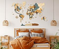 3D World Map for Scandinavian Wall Decor by WoodPecStudio. Wood Map Wall Art Wood Wall Art Wooden Map. Beige, brown, blue Wood World Map Rustic World Map Travel Map World Map Wall Decor Halloween Decor. Each part of the world map is painted manually hypoallergenic paints. Suitable for any interior and will give a warm atmosphere in the apartment / house / office. Material - top quality birch plywood of different thickness (3 - 5 mm) #mapwalldecor #walldecor #wallart