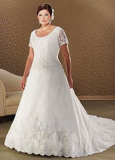 plus size wedding dresses with sleeves | dress with chapel train looks lovely the designer wedding dress