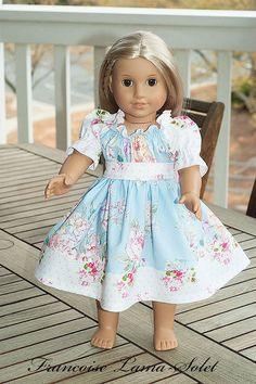 "American Girl 18"" Doll Clothes Peasant Twirl Dress with Belt 18"" doll style - Shabby Bouquet- Dress like my doll"