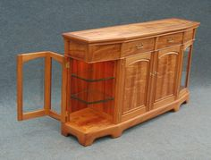 Sideboard with display shelves at each end