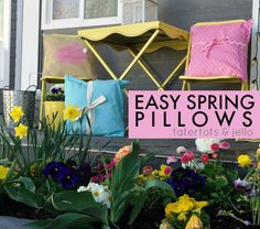 Make these EASY Spring pillows! Free printable Bunny Pattern, too! -- Tatertots and Jello