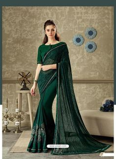 Green color stylish saree is lycra fabric with matching green color raw silk fabric blouse. Green color party wear saree is fancy net and applique flowers work. Wedding Sarees Online, Party Wear Sarees Online, Saree Wedding, Wedding Dresses, Lehenga Saree, Sari, Saree Dress, Green Saree, Pink Saree