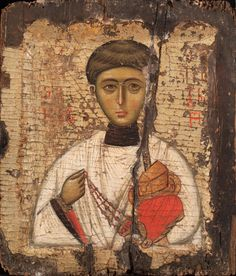 Saint Stephen Protomartyr, ca. 1300 Byzantine Turkey or Greece, Istanbul (Constantinople) or Thessaloniki Tempera and gold leaf on wood 10 1/2 × 8 7/8 × 1 in. (26.7 × 22.5 × 2.5 cm) Painting 1985-057.03 DJ