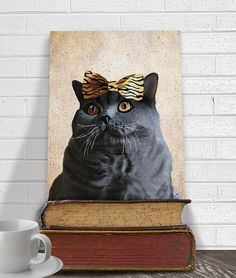 Hey, I found this really awesome Etsy listing at https://www.etsy.com/listing/125283905/grey-cat-14x11-and-leopard-bow-grey-cat