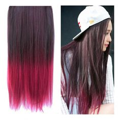"Stepupgirl 23"" Black to Burgundy Wine Red Ombre Dip-dye Straight Full Head Clip in Hair Extensions"