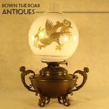 Dragon Kerosene Lamp with Winged Griffin - 1880's