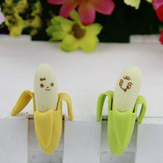 2 Pcs/set Cute Banana-shaped Eraser Office School Stationery Eraser Children School Supply Rubber Gift