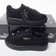 Puma Fenty Black Color Black Sole Women Sport Shoes WhatsApp Information Line and Order: 0 2244 541 Cute Shoes, On Shoes, Shoes Heels Boots, Me Too Shoes, Puma Fenty Shoes, Fenty Puma, Sneakers Mode, Sneakers Fashion, Fresh Shoes