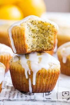 These Lemon Poppy Seed Muffins are tender moist and full of sweet citrus flavor. Drizzle them with a coconut glaze for a fun and tasty brunch treat or afternoon snack. They're fast easy grain free dairy free paleo and family approved! Paleo Dessert, Paleo Sweets, Coconut Dessert, Almond Flour Desserts, Healthy Baking, Healthy Treats, Paleo Running Momma, Lemon Poppyseed Muffins, Coconut Muffins