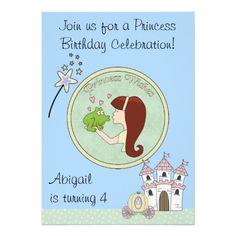 Red Hair Princess, Frog & Unicorn Birthday Invite