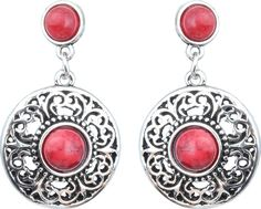 Waama Jewels Red Silver Plated back Push Style for girls Party Wear festival jewellery Turquoise Brass Dangle Earring Price in India - Buy Waama Jewels Red Silver Plated back Push Style for girls Party Wear festival jewellery Turquoise Brass Dangle Earring Online at Best Prices in India | Flipkart.com