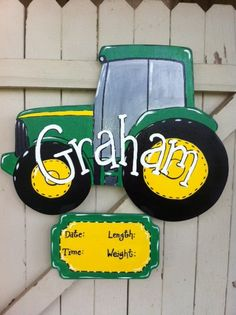 Tractor Baby Sign Door Hanger Wooden Hand Painted Personalized