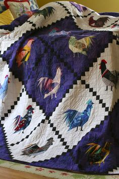 Oh, Poppycock! Chicken Quilt, Hens And Chicks, Yarn Shop, Quilting Designs, Fiber Art, Quilt Patterns, Rooster, Bohemian Rug, Patches
