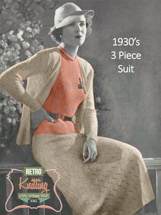 1930's Three Piece Suit Knitting Pattern  Instant by MyVintageWish