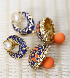 Neon Orange & Blue Embellished Jhumki Earrings