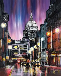 Purple Haze – 2013 - The Paul Kenton Collection - Art - Castle Galleri City Landscape, Urban Landscape, Paul Kenton, Gcse Art Sketchbook, Sketchbooks, Art Alevel, Monuments, Cityscape Art, London Art