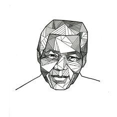 Geometric portrait of Nelson Mandela by Allison Kunath / ink on paper drawing, 9x12   Art