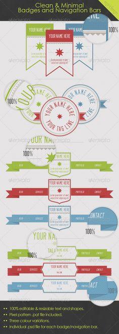 Clean & Minimal Badges and Navigation Bars $4.00