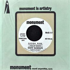 Boots Randolph Sleigh Ride White Christmas Promo 7in Vinyl Monument Mn45-1176 #Christmas