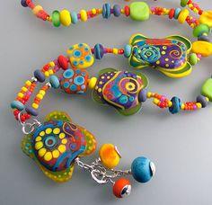 Sun Goddess  Pendant Necklace 51 lampwork beads by MichouJewelry