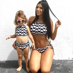 Mother and Daughter Swimsuits Two Pieces Family Matching Outfits Dress for Kids and Women Baby Swimwear Set Monokini Bikini Sexy Bikini, Mother Daughter Fashion, Baby Swimwear, Two Piece Swimwear, Striped Swimsuit, Matching Family Outfits, Swimsuits, Bikinis, Girl Outfits