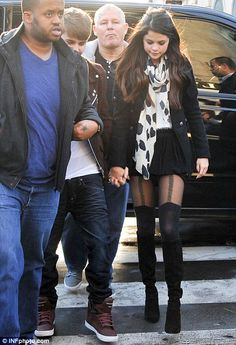 Selena Gomez - House of Holland Chain Suspender tights in Paris