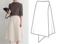 Ready-made pattern of a wrap bell skirt - pattern fashion - Sewing Clothes, Diy Clothes, Moda Peru, Hijab Fashion, Fashion Dresses, Skirt Patterns Sewing, Pattern Skirt, Inspiration Mode, Mode Hijab