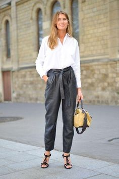 Office-friendly outfits that'll make sure you stand out from the crowd: try roomy trousers with a cinched waist. Click for more ideas!