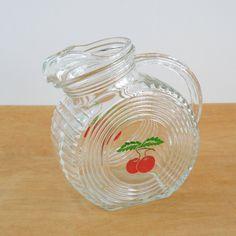 Vintage Clear Glass Pitcher • Disk Juice Pitcher • Tomato Juice Pitcher by lisabretrostyle2 on Etsy