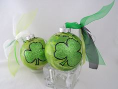GOOD LUCK of the IRISH Handpainted Clover Glass Christmas Ornament - Personalize for Any Occasion