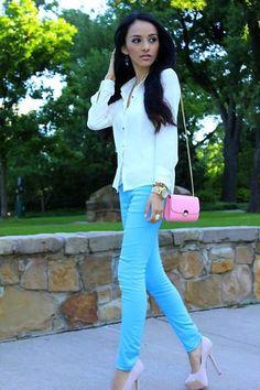 Shop this look on Kaleidoscope (pants, blouse, pumps) http://kalei.do/WAnk6WkYbVOygIbN
