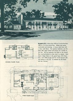 Distinguished home designs for modern living by Plan Publishers Inc. Publication date 1963 Colonial House Plans, Southern House Plans, House Floor Plans, Architectural Floor Plans, Architectural Drawings, Vintage House Plans, Vintage Homes, Weekend House, Contemporary House Plans