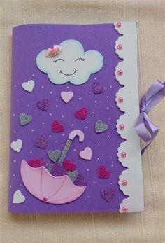 Capinhas de caderno em eva - Artesanato Passo a Passo! Notebook Cover Design, Notebook Covers, Journal Covers, Foam Crafts, Preschool Crafts, Crafts For Kids, Paper Crafts, Diy Paper, Front Page Design