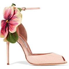 Brian Atwood Floral-appliquéd ayers sandals ($1,175) ❤ liked on Polyvore featuring shoes, sandals, heels, zapatos, pumps, pink, floral shoes, ankle tie sandals, ankle wrap sandals and floral print sandals
