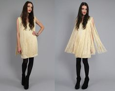 Vtg 60s Ivory Fringe Mod Deep V Dolly Mini Shift by theindustry, $142.00