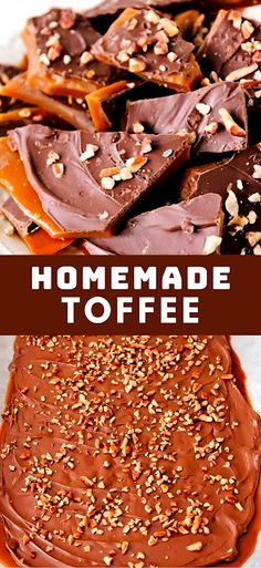 This rich and buttery toffee takes only thirty minutes to make and is super easy, too! Perfect for parties, holiday gifts, and snacking! - The ingredients and how to make it please visit the website Best Dessert Recipe Ever, Best Easy Dessert Recipes, Dessert Recipes With Pictures, Quick Easy Desserts, Sweets Recipes, Hot Desserts, Desserts Menu, Cheesecake Desserts, Delicious Desserts