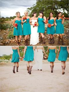 teal bridesmaid dresses, bright bouquets, and cowboy boots