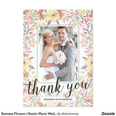 Autumn Flowers | Fall-Themed Rustic Wedding Photo Thank You Card - pretty calligraphy and watercolor flowers in shades of pink, red, and yellow