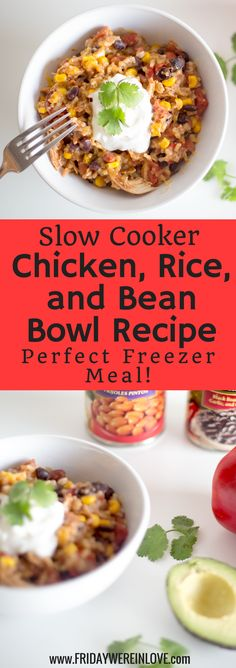 This easy slow cooker chicken rice and bean bowl recipe tastes delicious, and also freezes well for an easy dinner idea and a perfect crockpot freezer meal! Beans In Crockpot, Slow Cooker Beans, Slow Cooker Huhn, Vegan Crockpot Recipes, Rice Cooker Recipes, Crockpot Meals, Slow Cooking, Freezer Cooking, Italian Cooking