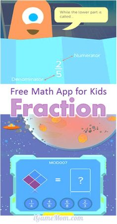 A free #math app for kids teaching fractions. The interactive visual lessons and the game like practice make it easier to understand the meaning of fraction and fun to practice. A great learning tool for kids who just start learning fractions. #fractions