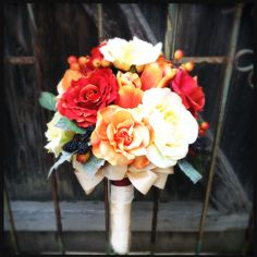 Tangerine, Burnt Orange & Butter Yellow Silk Wedding Bouquet with Roses, Tulips, Black Berries tied in Satin and Lace