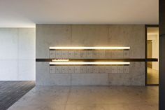 inset mailboxes with LED accent Lobby Interior, Arch Interior, Apartment Interior, Apartment Design, Interior Architecture, Interior Design, Lobby Reception, Reception Design, Lobby Design