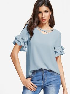 Shop Crisscross V Neck Layered Ruffle Sleeve Top online. SheIn offers Crisscross V Neck Layered Ruffle Sleeve Top & more to fit your fashionable needs. Blouse Styles, Blouse Designs, Ruffle Sleeve, Ruffle Blouse, Flutter Sleeve, Ruffle Collar, Ruffle Top, Look Fashion, Fashion Outfits