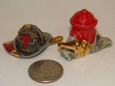 Vintage Miniature Arcadia Fireman's Hat & Axe & Hydrant with Hose Salt & Pepper