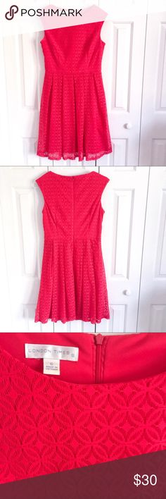 Coral Lace Garden Party Dress Beautiful bright coral lace dress in a very flattering fit. Slight underarm staining. Absolutely perfect for summer! London Times Dresses Midi