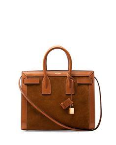 V28HE Saint Laurent Sac de Jour Small Suede/Leather Tote Bag, Light Cognac