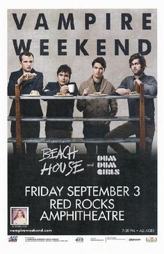 Concert poster for Vampire Weekend and Beach House at Red Rocks Amphitheatre in Morrison, CO in 2010. 11x17 on card stock.