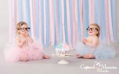 Twins cake smash shoot, Outfit by Lil punks, Photography - Captured Memories
